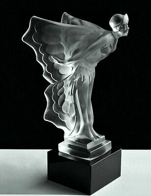 Art Deco Glass Car Mascot Spirit of Ecstasy Flying Lady Figurine