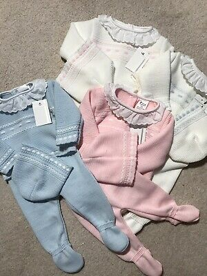Spanish Knitted Romper Baby Girls Boys Jumper Pram Set 3 Pce Pink Blue 0-3 Mths