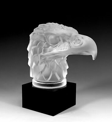 Art Deco Glass Car Mascot ' Head Eagle ' Hood Ornament H.Hoffmann