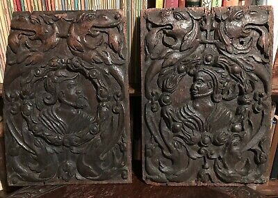 1500s-1600s PAIR ANTIQUE CARVED WOOD DRAGON & COUPLE GOTHIC ORNATE PLAQUES