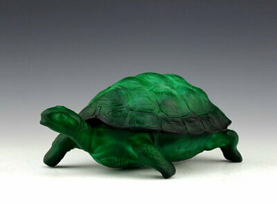 Art Deco Jade Malachite Glass Bowl Turtle Trinket Jewelry Box 1930's H.Hoffmann