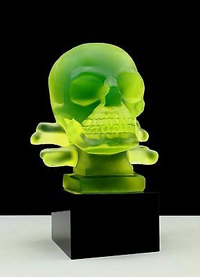 "Glamorous Art Deco Bohemian Glass Car Mascot Figurine "" Skull "" Hood Ornament"