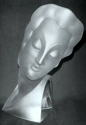 Art Deco 1930' Ingrid Bohemian Art Glass Bust Sculpture Figurine H.Hoffmann