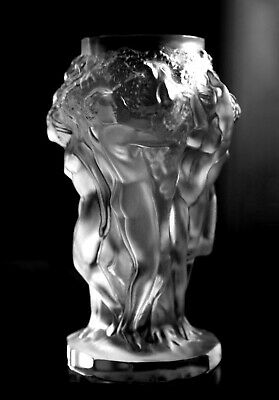Glamorous French Art Deco Clear Frosted Satin Glass Nude Figural Vase