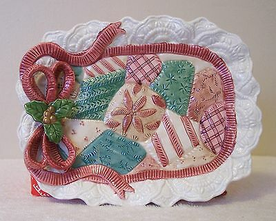 "FITZ and FLOYD "" CHRISTMAS QUILT CANAPE PLATE""  HAND PAINTED"