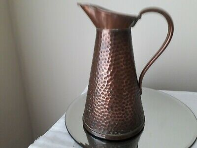 Copper hammered jug arts & crafts by Joseph Sankey & son 7 inches high small jug