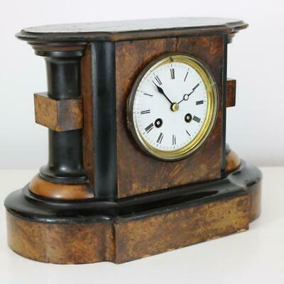 WALNUT & EBONISED MANTEL CLOCK by JAPY FRERES working but case scruffy ANTIQUE