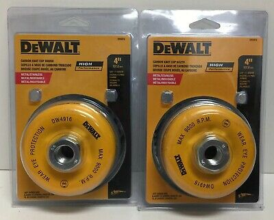"(New) DeWalt DW4916 4"" Carbon Knot Cup Brush Metal 5/8""-11 Arbor .020"" Lot of 2"