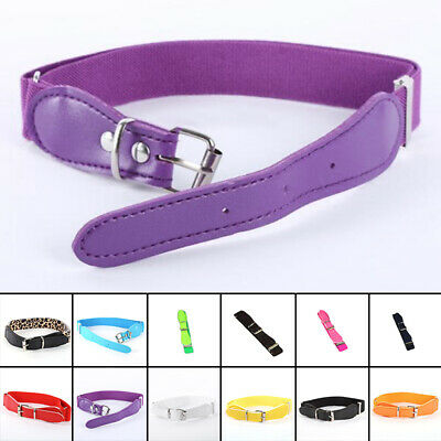 Candy Color Children Boy Girl Adjustable Solid Belt PU Leather Elastic Waistband