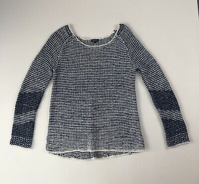 EX Bonmarche Size 10-22 Natural Stripe Chiffon Hem Scoop Neck Fine Knit Jumper