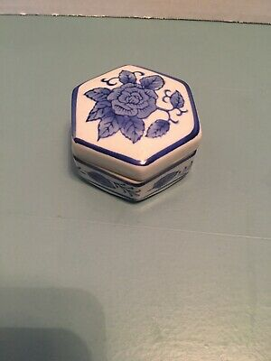 Vintage Chinese Blue White Porcelain Flower Trinket Box Annie's Treasures