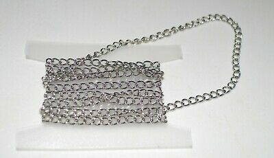 Findings - 6 x 4mm  Silver Tone Twisted Oval Link Chain - 1 Metre