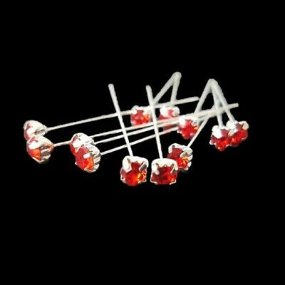 Diamante Florist Pins 4mm x 72pcs Red Premium Quality Wedding Corsages