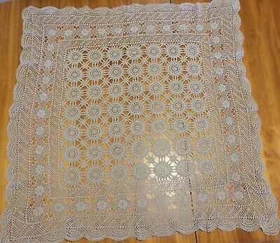 Small Vintage Crochet Cotton Table Cloth Cream 94Cm X 94Cm