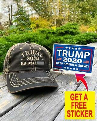 Donald Trump 2020 No Bull KAG USA Flags Political MAGA Hat With Free One sticker