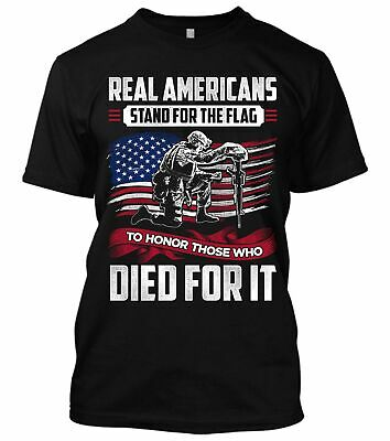 Real Americans Stand For The Flag New Men's Shirt Donald Trump Veteran Patriotic