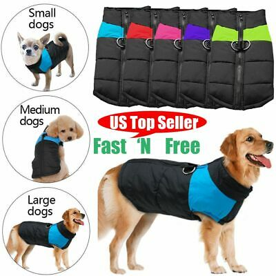 US Padded Waterproof Dog Clothes Warm Pad Pet Coat Vest Jacket Autumn Winter NEW
