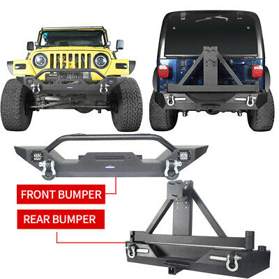 Texture Black Front & Rear Bumper w/ Tire Carrier for Jeep Wrangler TJ 97-06
