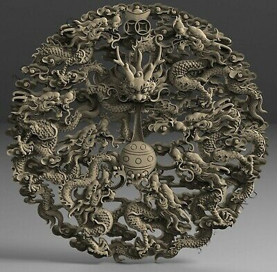 3D STL Models # POWER OF DRAGONS # for CNC Engraver Carving Aspire Artcam 3D MAX