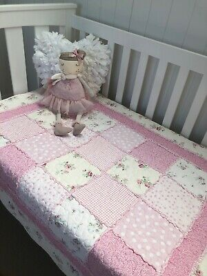 Pretty Pink Vintage Florals Patchwork Cot Quilt Coverlet Nursery Bedding Mia