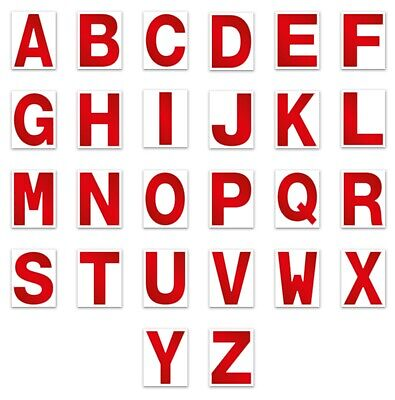 Alphabet CAPITAL Letters Stickers Self Adhesive Permanent A-Z Hi Viz Red 3""