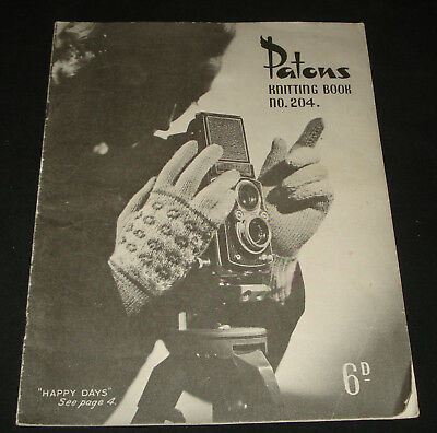 PATONS KNITTING BOOK #204 - 1940s   gloves mittens