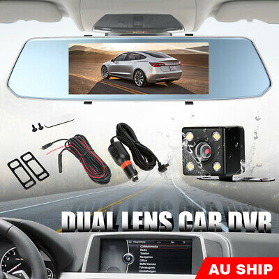 "7"" Dash Camera front and rear View Mirror Car Reverse Kits Double Cam FHD 1080P"