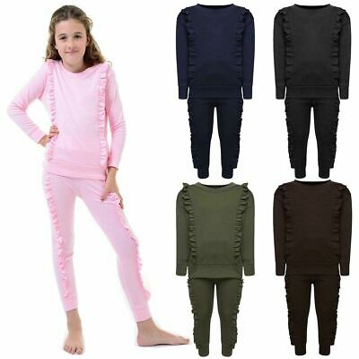 Girls Duel Ruffle Frill Tracksuit Childrens Top Jogger Pants Co Ord Loungewear