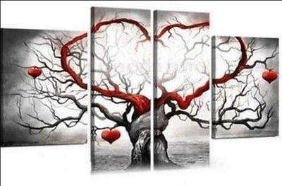 Framed  Handcraft Modern oil painting on canvas Red heart-shaped tree 4PC