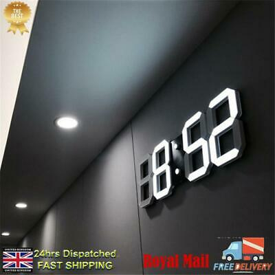 UK 3D LED Digital Wall Clock Electronic Alarm Display Temperature Modern USB New