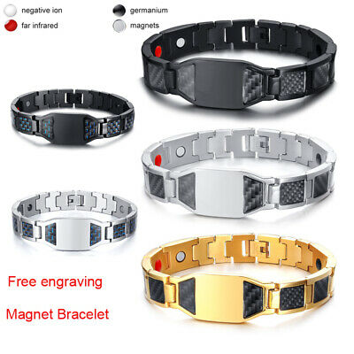 Therapeutic Energy Healing Magnetic Bracelet for Men Women Therapy Free Engraved
