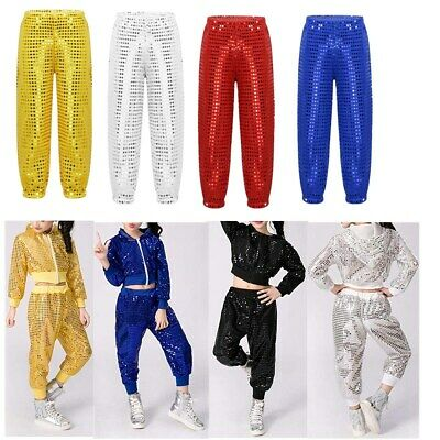 Kids Shiny Sequins Hip-hop Jazz Dance Pants Trousers Boys Girls Stage Costume