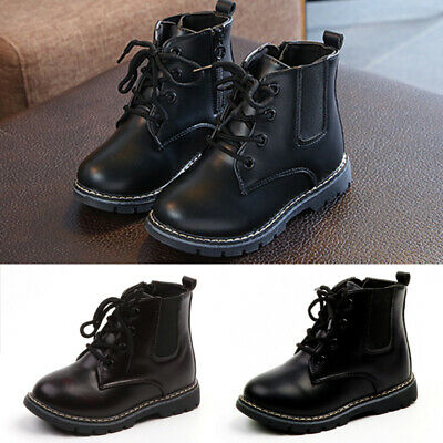 Children Kids Ankle Boots Boys Girl Winter Lace Up Faux Leather Casual Shoes New