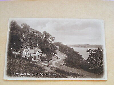 Early real photo Cormall postcard-Beech Wood Cottage Mt Edgcumbe -Plymouth Sound
