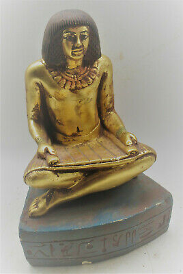 Rare Ancient Egyptian Gold Gilded Stone Seated Scribe Statue With Heiroglyphics