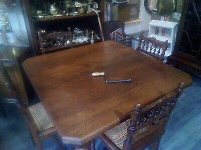 Antique Victorian Oak Wind Out Dining Table With Original Castor's