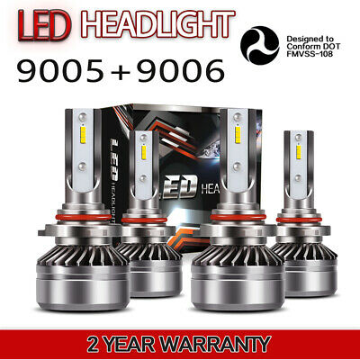 Mini 9005+9006 Combo LED Headlight 6000K Bulb Kit 120W 24000LM High Low Beam X