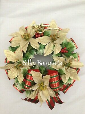 Christmas Wreath Ring Artificial Silk Funeral Flower Memorial Tribute Gold Holly