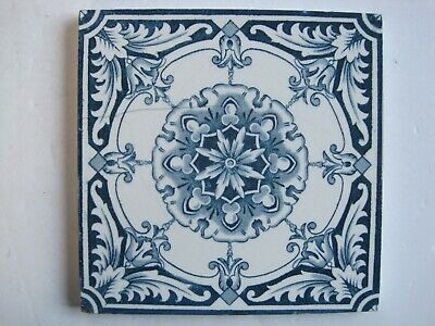 "Antique Victorian 6"" Square Transfer Print Aesthetic Blue On White Wall Tile"