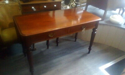 Antique Victorian Mahogany Drop Leaf Dining Table With Drawers