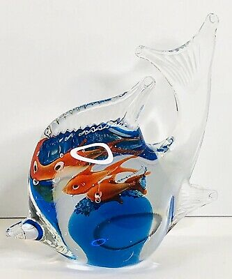 Hand Blown Art Glass Fish with 2 Goldfish and Bubbles inside Paperweight 4x4 in