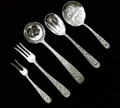 (5) Kirk & Son Repousse Sterling Silver Serving Pieces -Estate Purchase - J1253