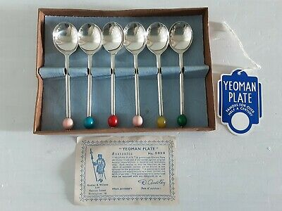 6 Yeoman Plate EPNS Coffee Spoons With Multicoloured Plastic Bead Finial Boxed