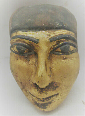 Museum Quality Ancient Egyptian Gold Gilded Stone Carved Mummy Mask Superb