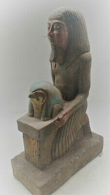 Museum Quality Ancient Egyptian Stone Carved Statue Servant And Head Of Horus