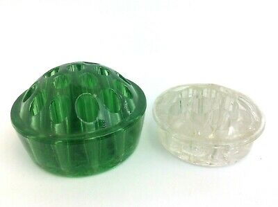 Two Vintage Used Glass Clear & Green Flower Frogs Depression Era Flower Bouquet