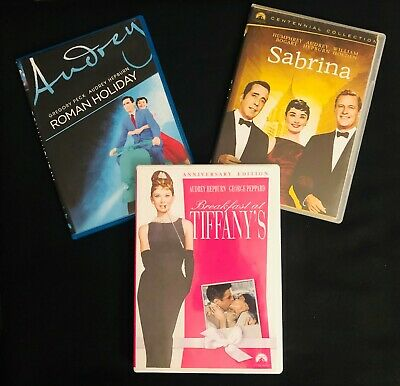 Audrey Hepburn DVDs Roman Holiday Breakfast at Tiffany's and Sabrina 3 Movie Lot