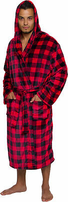 Ross Michaels Mens Plaid Hooded Luxury Plush Big and Tall Short Bath Robe