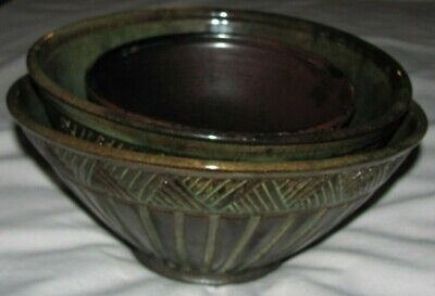 Lot: 3 Brown Green Glazed Pottery Bowls Handmade Studio Art Signed MCL & Marsha