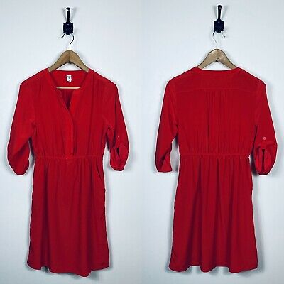 Womens Old Navy Small Red Silky Shirt Dress Pockets Holiday Christmas
